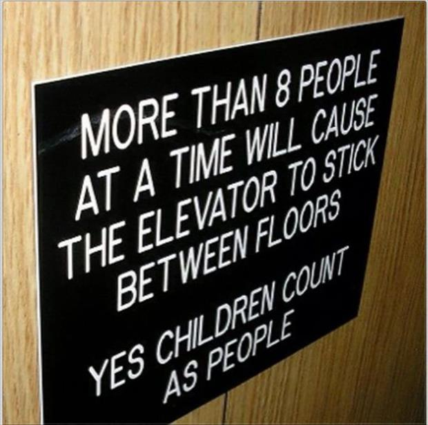 funny elevator sign