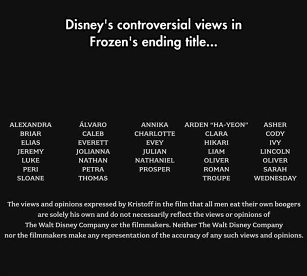 funny frozen credits