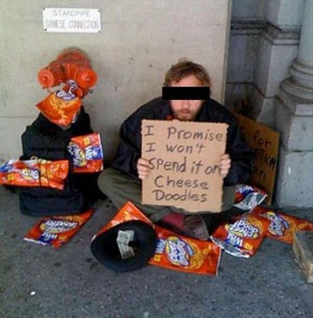 funny homeless man signs