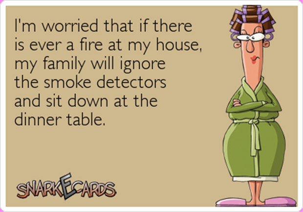 funny smoke detectors and dinner