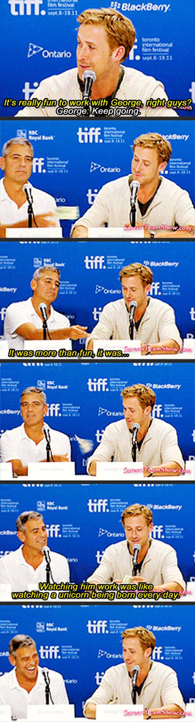 george clooney and ryan gosling funny interview