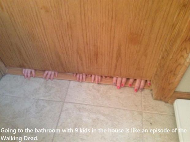 going to the bathroom with 9 kids funny