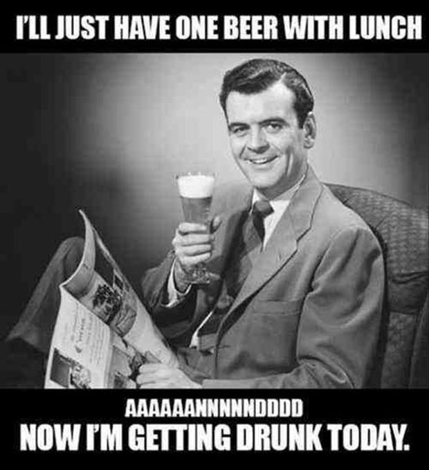 having a beer with lunch