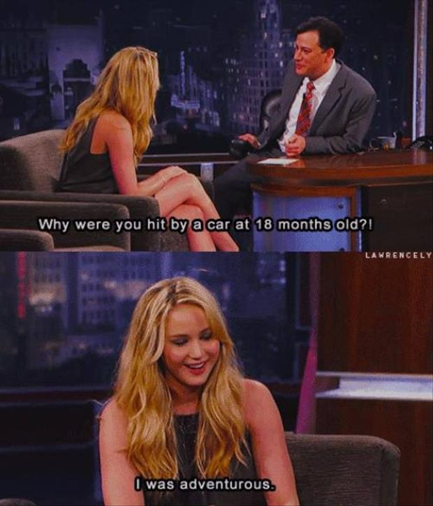 hit by a car funny jennifer lawrence