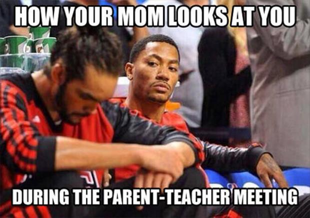 mom at parent teacher meeting