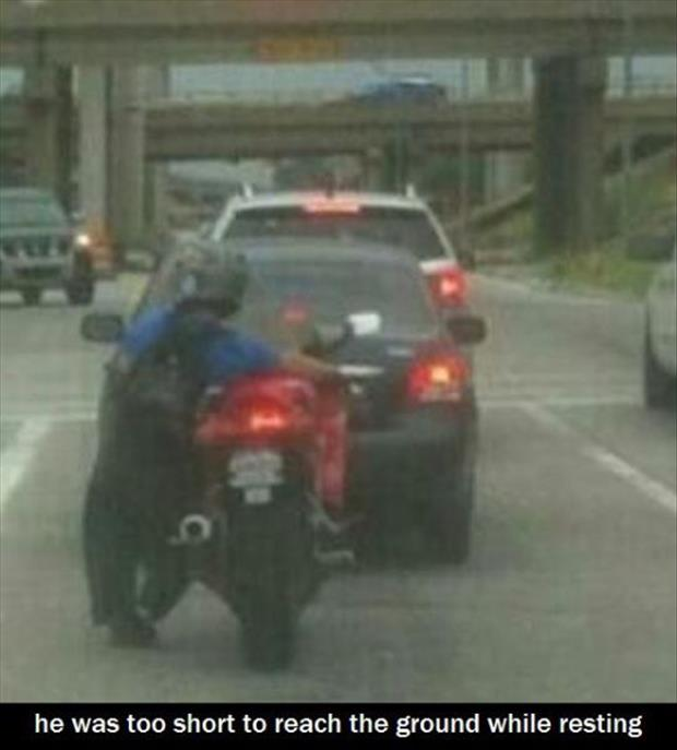short guy on motorcycle