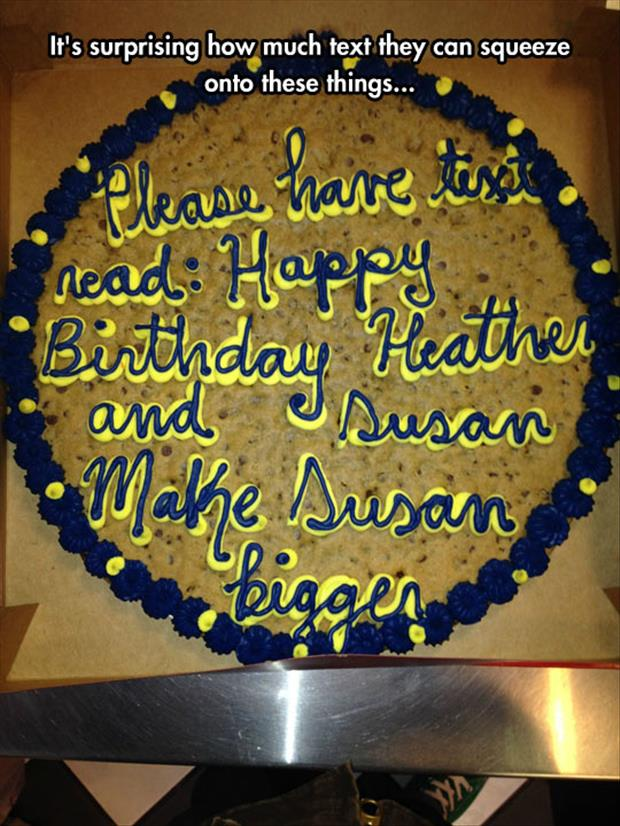 text on a cake