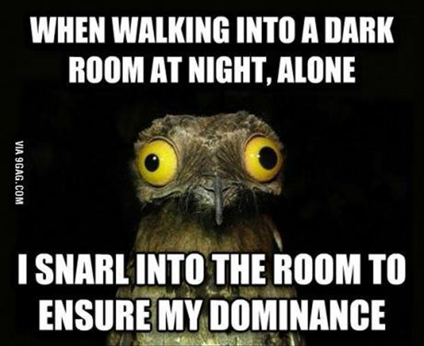 walking into a room at night