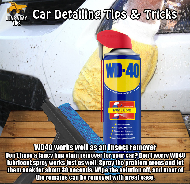 dump car detailing tips insect stain wd40 dump a day. Black Bedroom Furniture Sets. Home Design Ideas