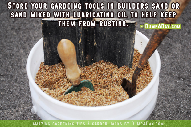 DumpADay Garden Hacks- storing gardening tools
