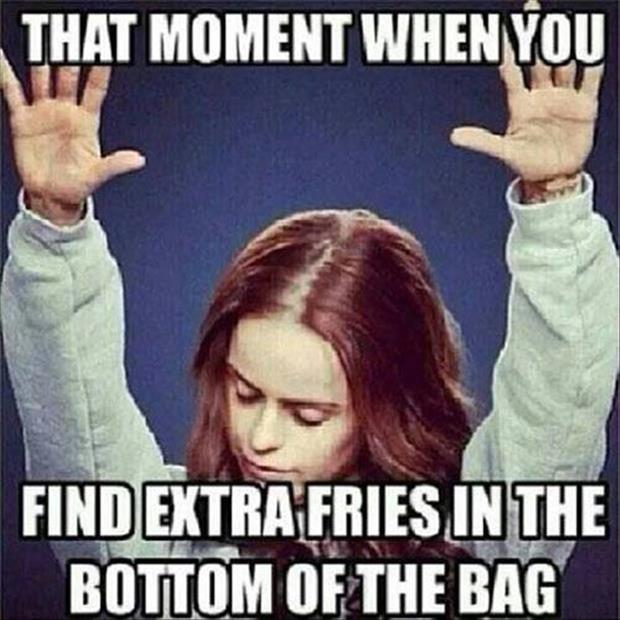 extra fries in the bottom of the bag