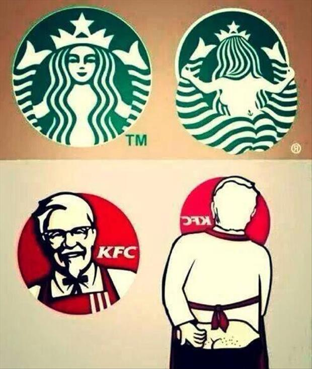 front and back of famous logos