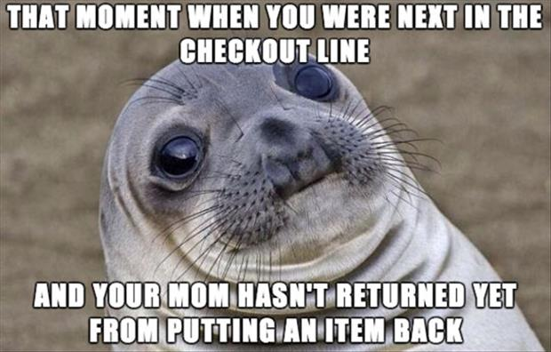 standing in the checkout line