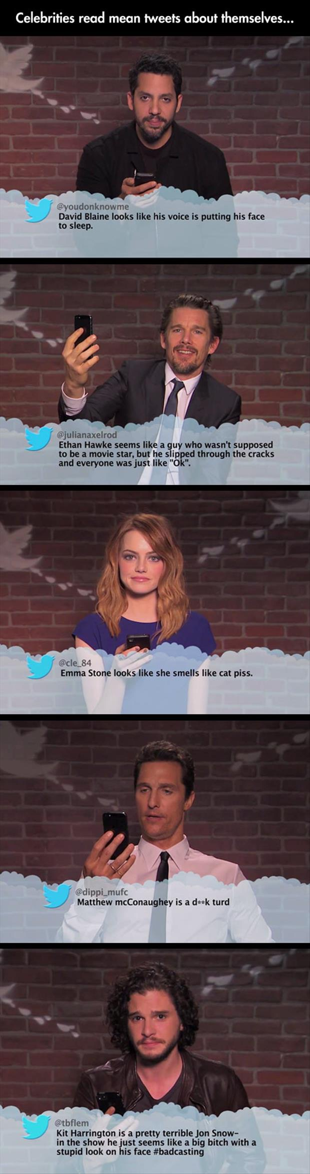 funny celebrities read tweets about themselves