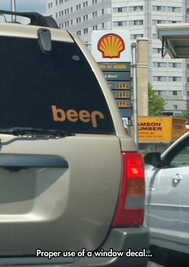 funny jeep sticker spells beer