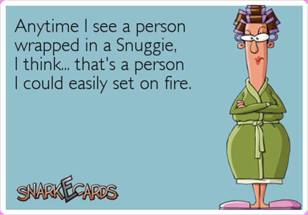 funny person in a snuggy
