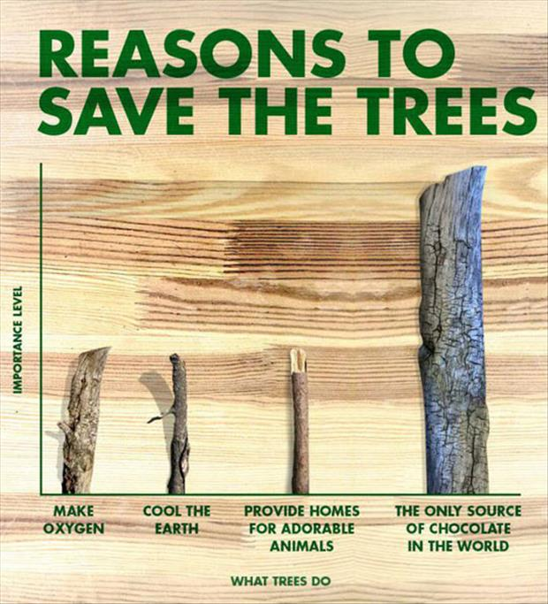 funny reasons to save trees