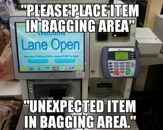 please place item in bagging area