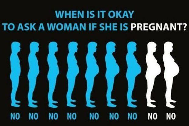when is it o.k. to ask if a woman is pregnant