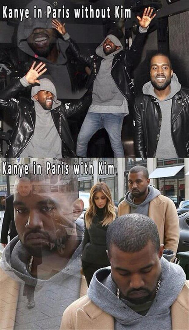 kanye with kim and without kim kardshian