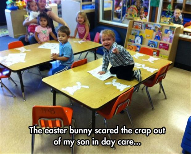 kid is scared of the easter bunny