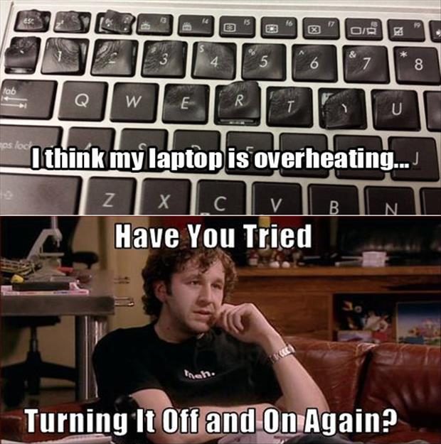 a laptop is overheating