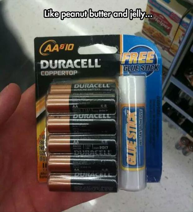 funny batteries and glue sticks