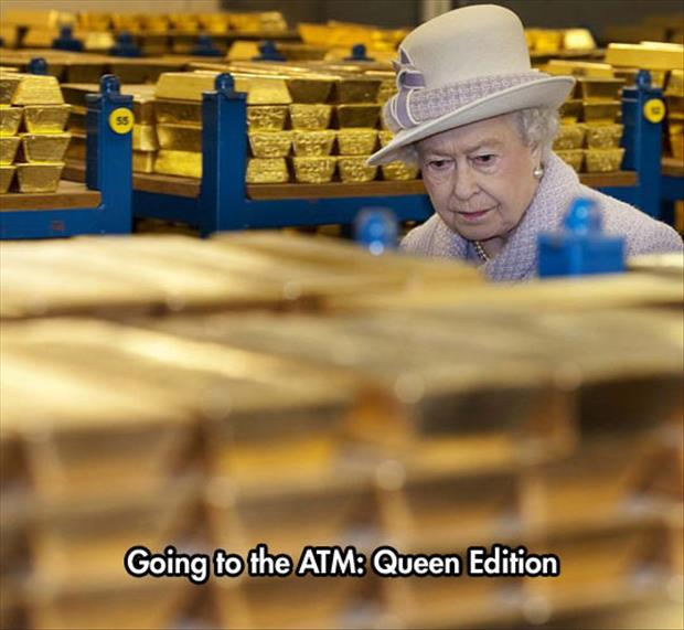 the queen looking at gold