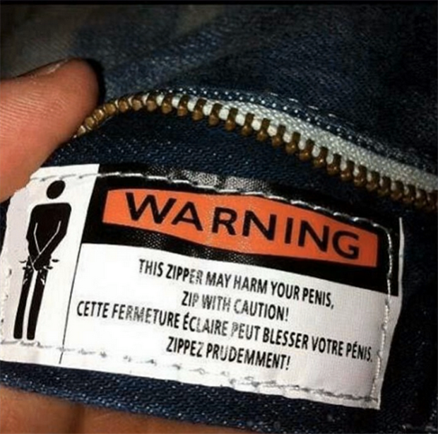 zipper may harm your penis