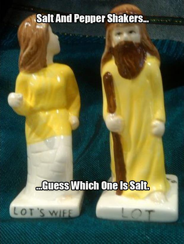 Salt and Pepper Shakers Lot's Wife Guess which one is salt