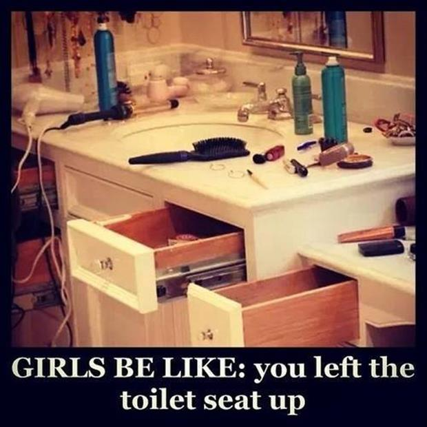 a woman left the toilet seat up