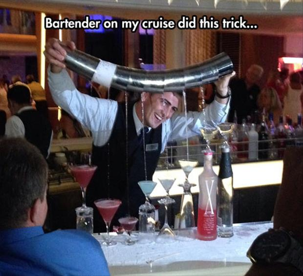 amazing bar tender on a ship