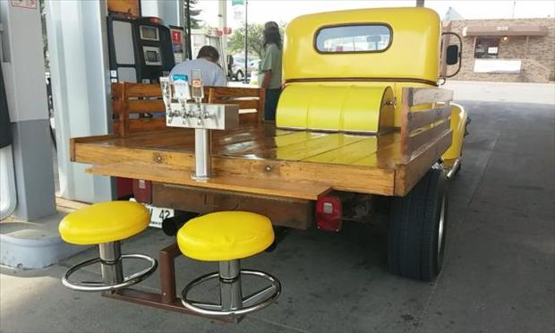 bar stools on a truck