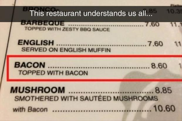 funny bacon on the menu