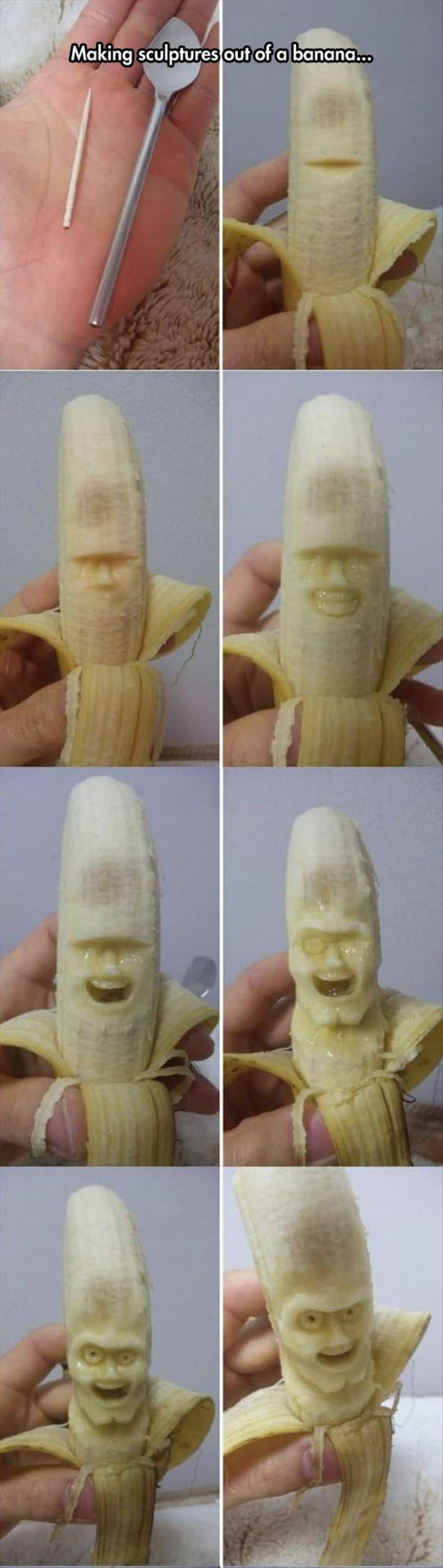 how to make a banana carving