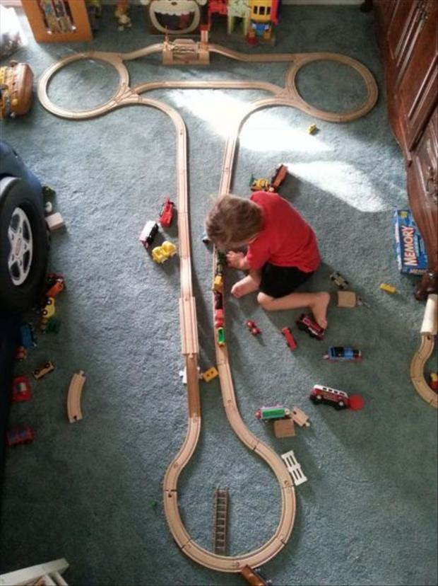 kids playing with his train