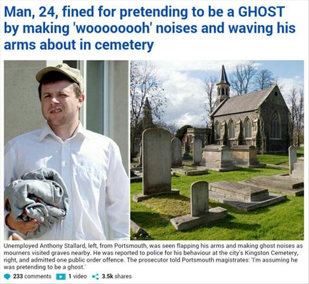 man fined for pretending to be a ghost