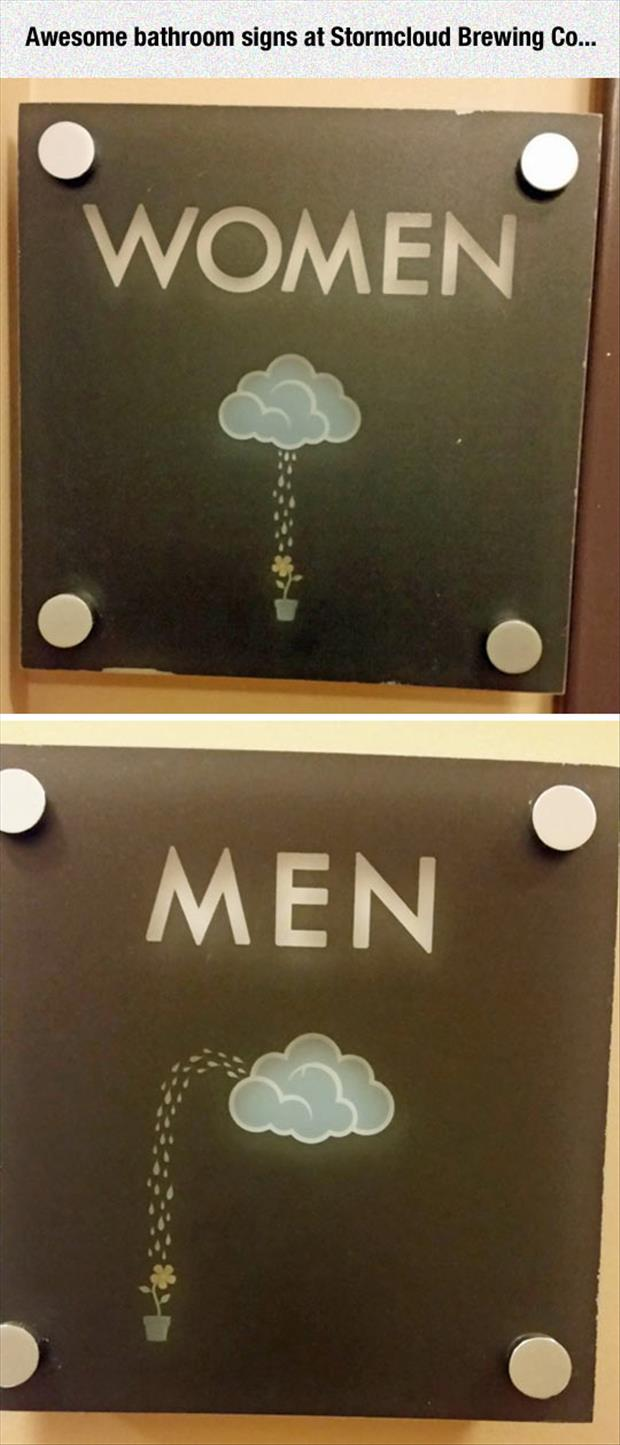 men women restroom signs