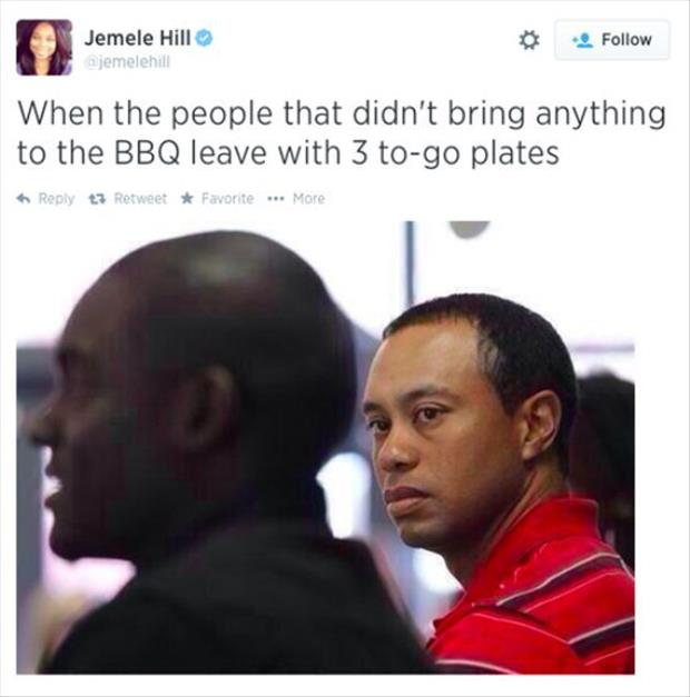 people bringing food to the bbq