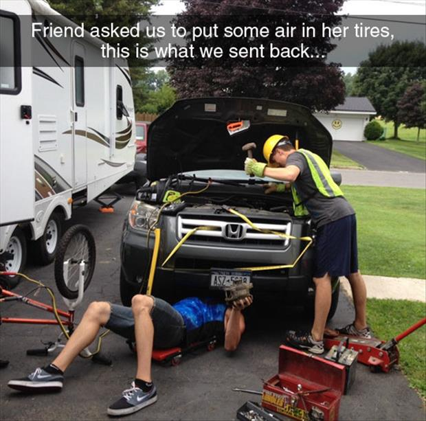 put air in her tires