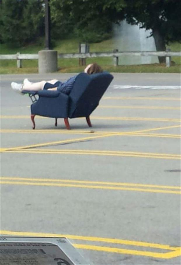 sleeping in the parking lot