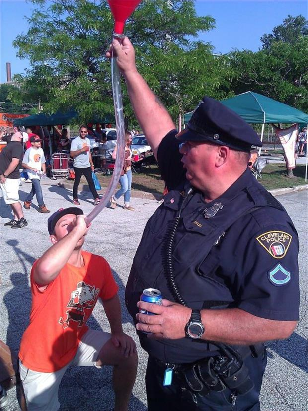 the cop and beer bong