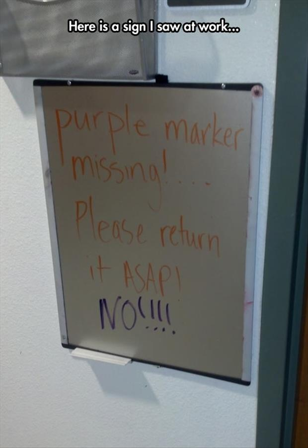 the purple marker is missing
