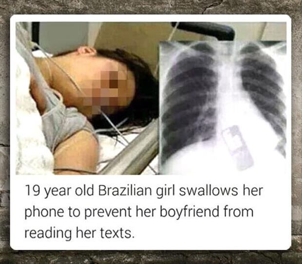 woman swallows her cell phone