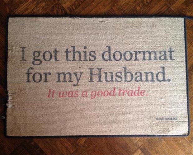I got this doormat for my husband