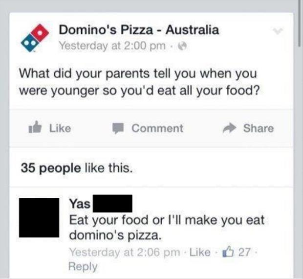 funny dominos pizza twitter quote