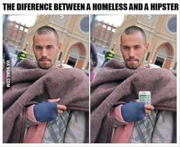 the difference between homeless and hipster