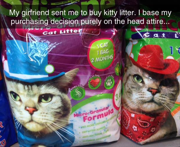 trying to buy kitty litter