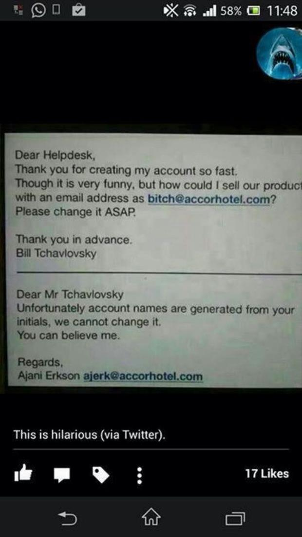 funny email names