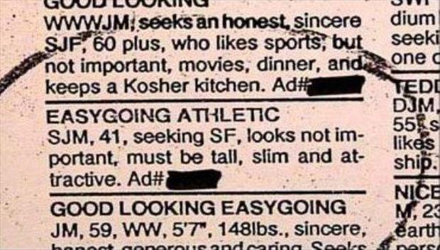Dating adverts in newspapers